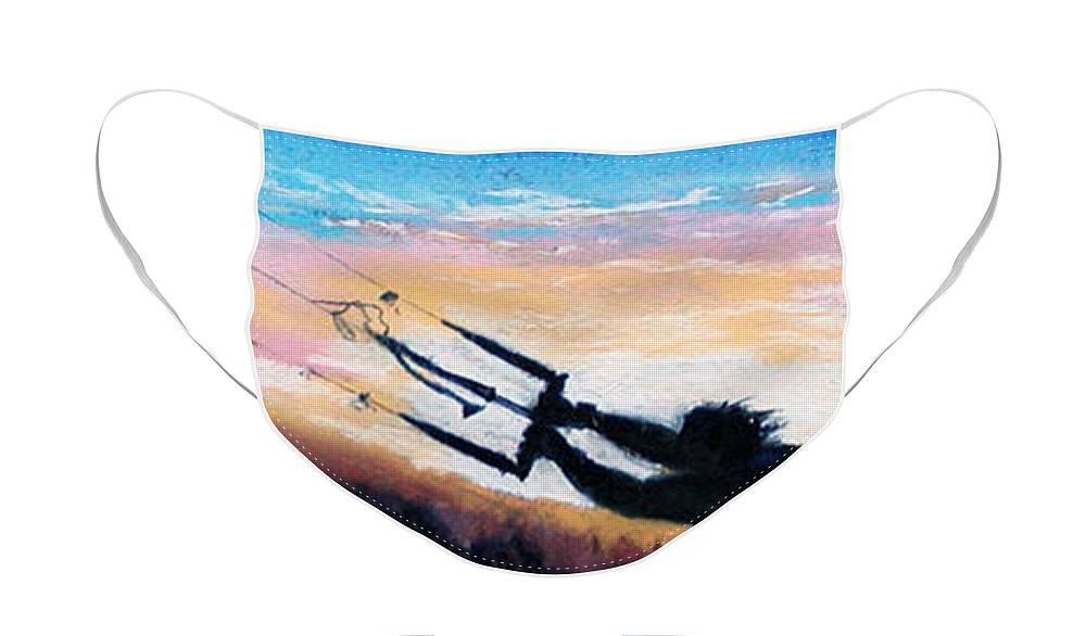 Kiteboarding Face Mask featuring the pastel Flyin' Kiteboarder by Lynee Sapere