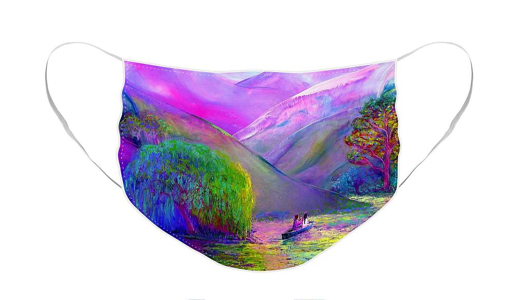 Abstract Face Mask featuring the painting Love is Following the Flow Together by Jane Small