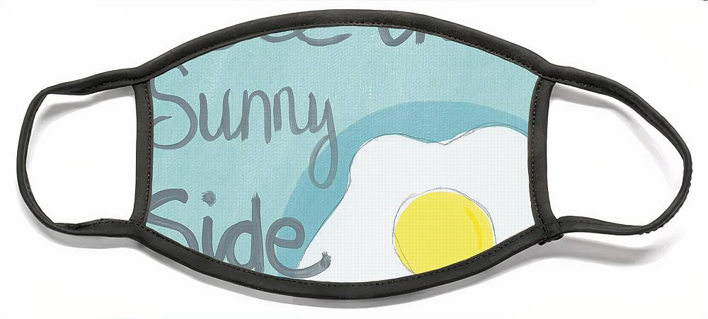 Egg Face Mask featuring the painting Food- Kitchen Art- Eggs- Sunny Side Up by Linda Woods