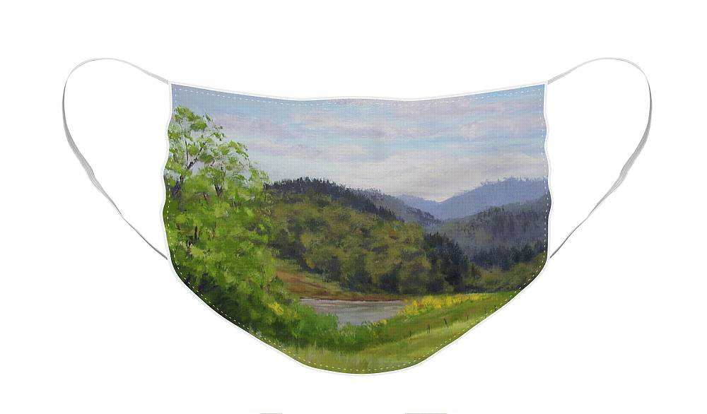 Pond Face Mask featuring the painting Ford's Pond in Spring by Karen Ilari
