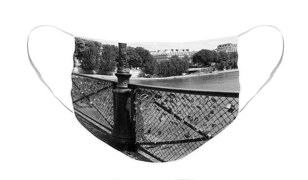 Paris Face Mask featuring the photograph Forever Love in Paris - Black and White by Carol Groenen