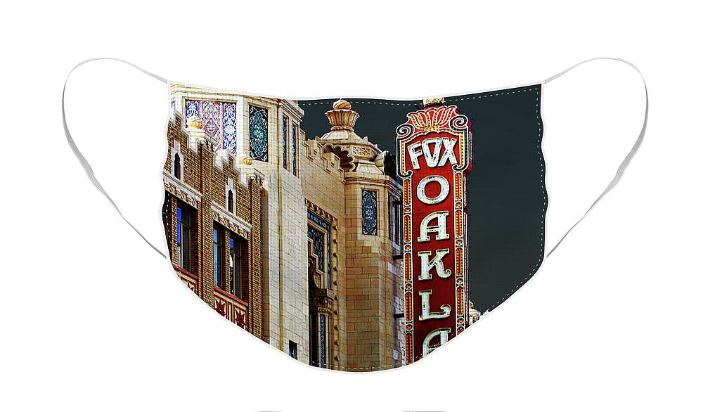 Wingsdomain Face Mask featuring the photograph Fox Theater . Oakland California by Wingsdomain Art and Photography