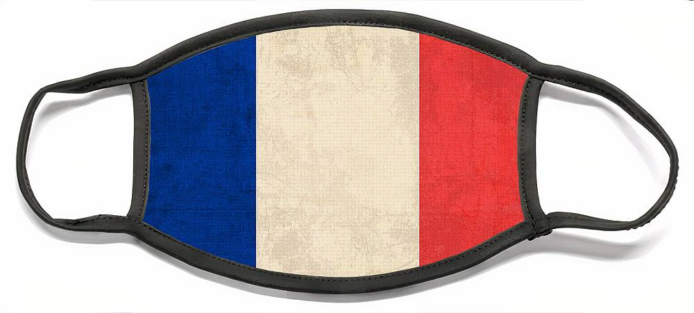France Flag Paris Marseilles French Europe Face Mask featuring the mixed media France Flag Distressed Vintage Finish by Design Turnpike