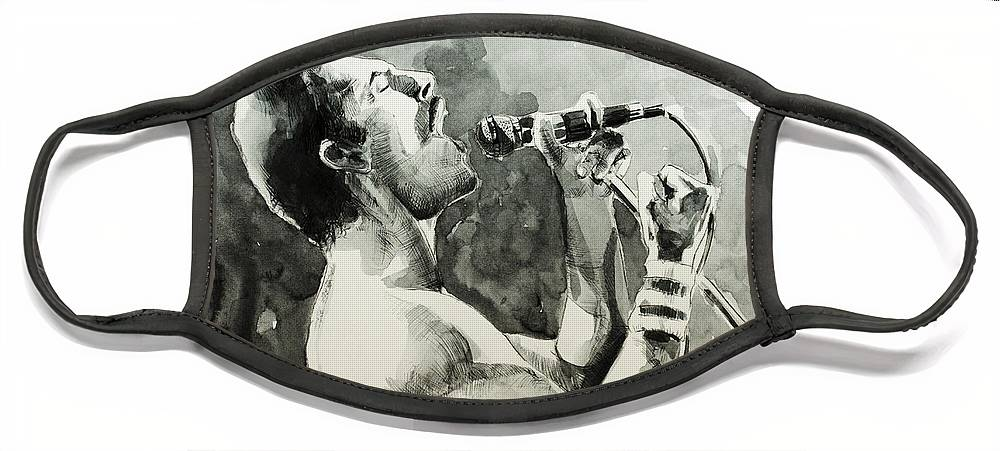 Freddie Mercury Face Mask featuring the painting Freddie Mercury 8 by Bekim M
