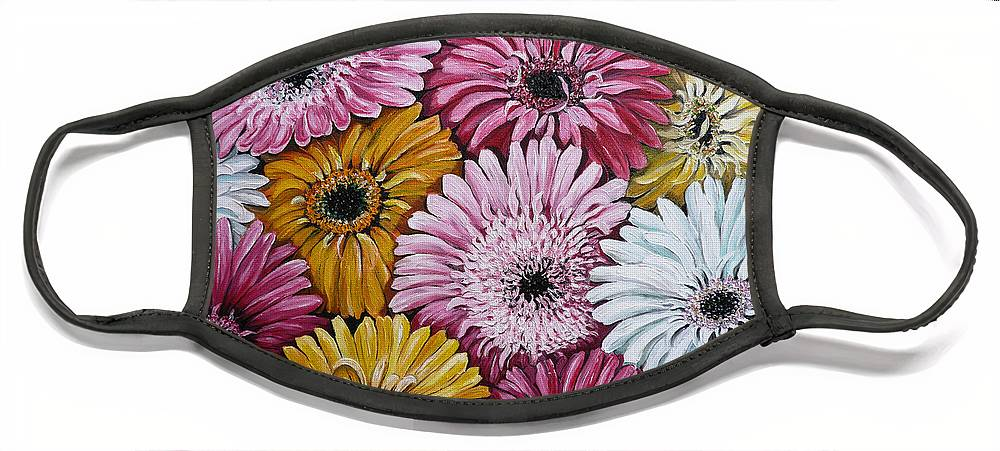 Flower Paintings Daisy Paintings Floral Paintings Blooms Color .gerbera Daisy Paintings Greeting Card Painting S Canvas Painting Poster Print Paintings Face Mask featuring the painting Gebera Daisies by Karin Dawn Kelshall- Best