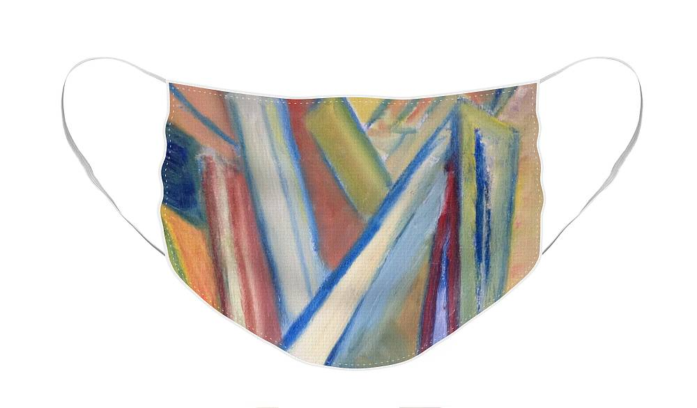 Abstract Face Mask featuring the painting Geometric Tension Series V1 by Patricia Cleasby