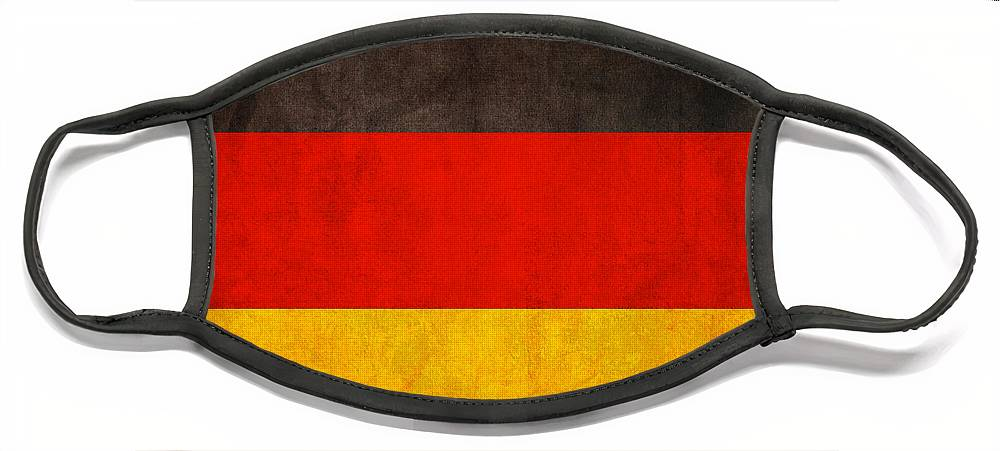 Germany Flag German Europe Dresden Hamburg Berlin Dusseldorf Face Mask featuring the mixed media Germany Flag Vintage Distressed Finish by Design Turnpike