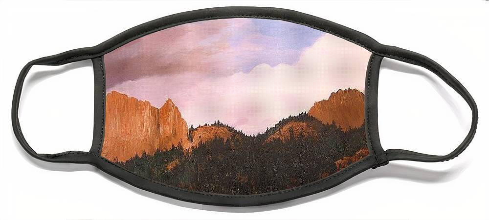 Mountains Face Mask featuring the painting Golden Gate by Hunter Jay