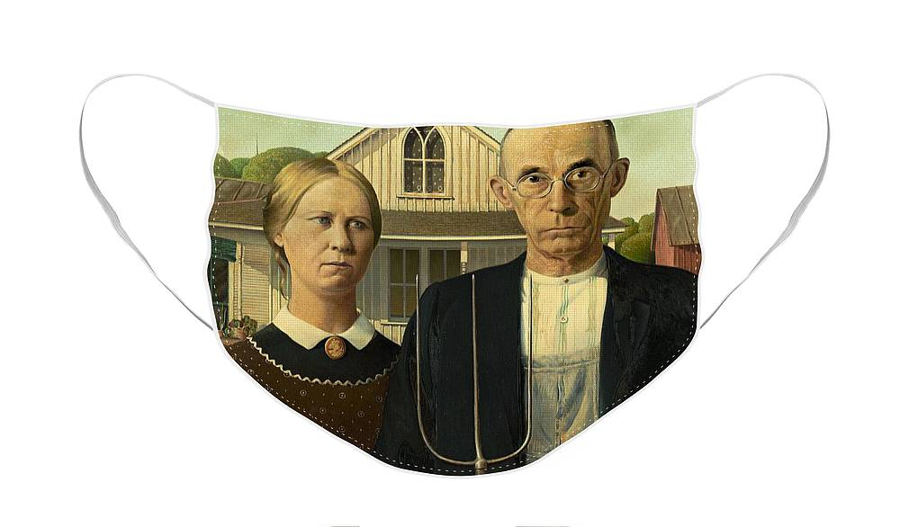 Grant Wood American Gothic 1930 Face Mask For Sale By Movie Poster Prints