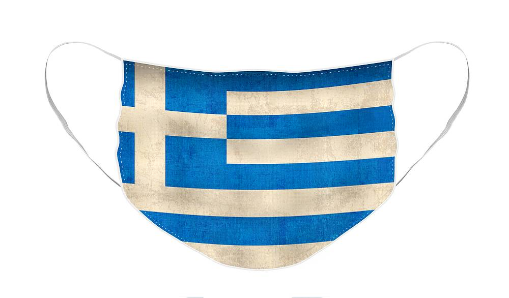 Greece Greek Athen Hellenic Ruins Acropolis Flag Vintage Distressed Finish Face Mask featuring the mixed media Greece Flag Vintage Distressed Finish by Design Turnpike