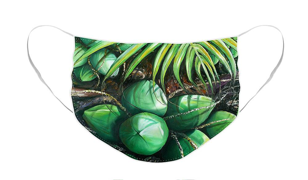 Tropical Painting Caribbean Painting Green Painting Palm Tree Painting Greeting Card Painting Botanical Painting Tree Painting Face Mask featuring the painting Green Coconuts 3 Sold by Karin Dawn Kelshall- Best