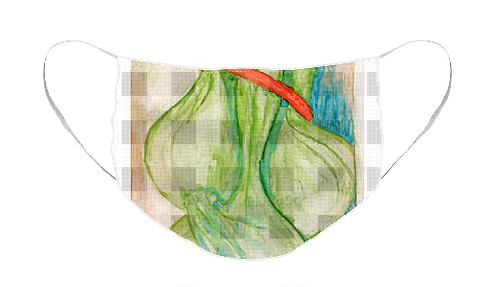 Still Life Face Mask featuring the painting Green Onions by Elle Smith Fagan