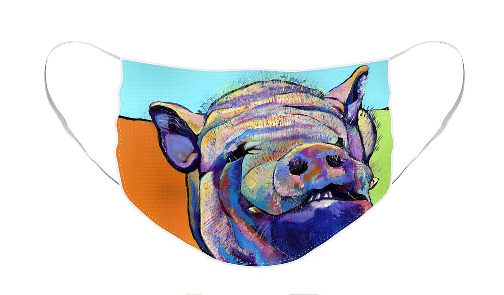 Pat Saunders-white Canvas Prints Face Mask featuring the painting Grunt  by Pat Saunders-White