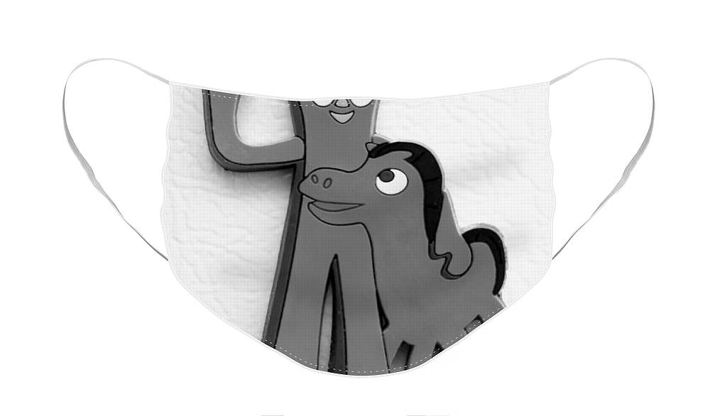 Gumby Face Mask featuring the photograph GUMBY AND POKEY B F F in BLACK AND WHITE by Rob Hans