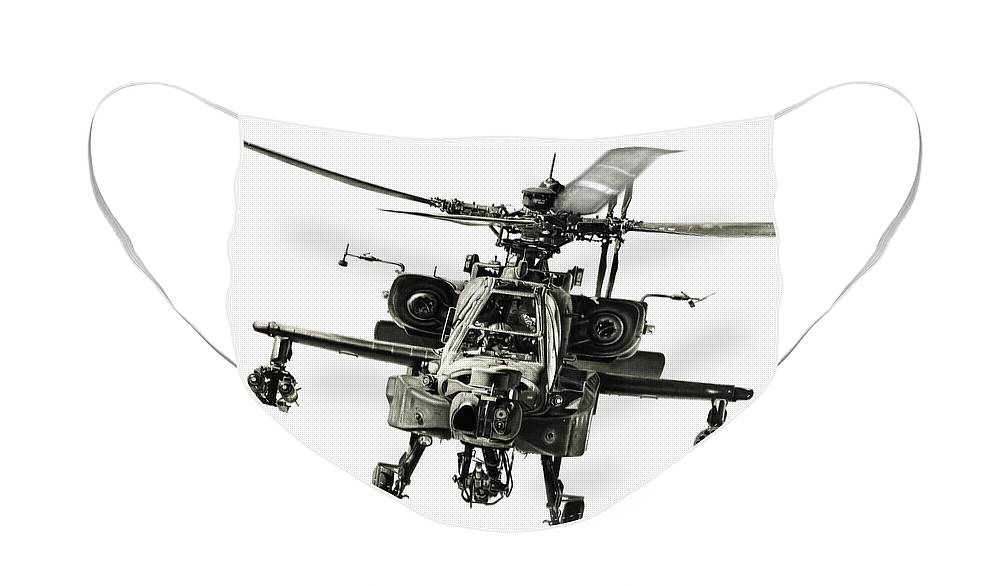 Apache Helicopter Face Mask featuring the drawing Gunship by Murray Jones