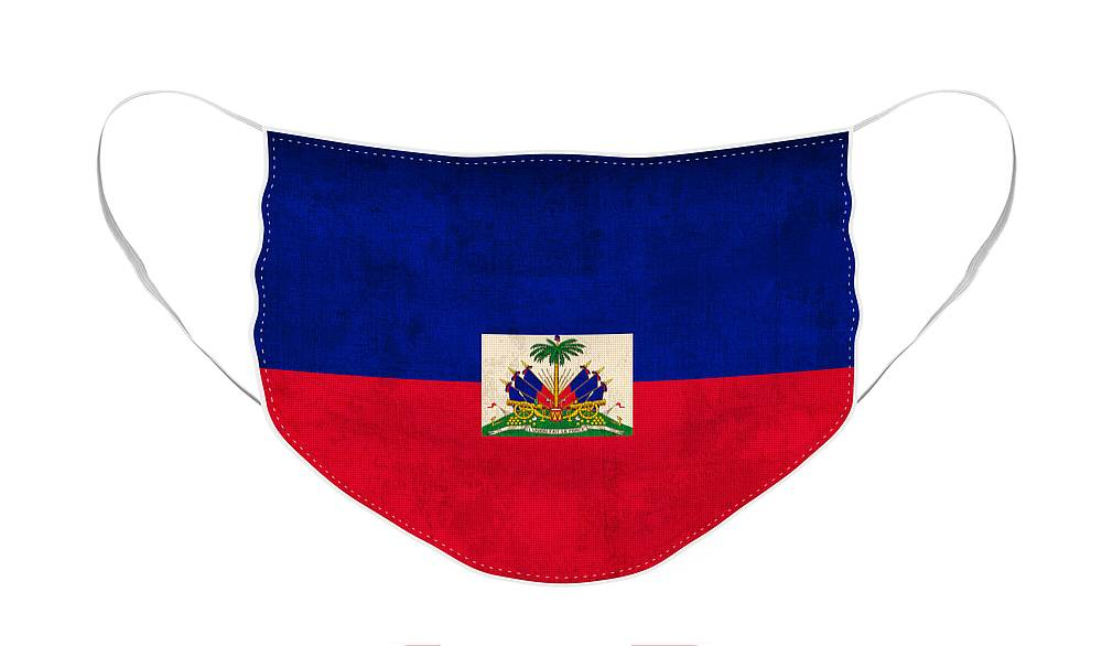 Haiti Face Mask featuring the mixed media Haiti Flag Vintage Distressed Finish by Design Turnpike