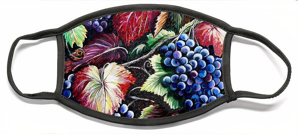 Grapes Painting Face Mask featuring the painting Harvest Time by Karin Dawn Kelshall- Best