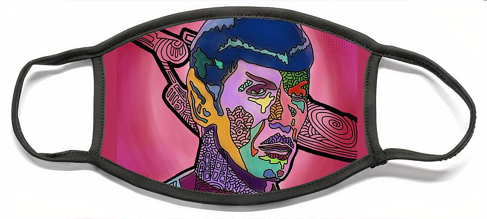 Spock Face Mask featuring the digital art He Lived and Prospered by Marconi Calindas