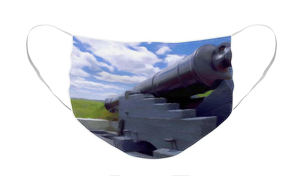 Canadian Face Mask featuring the painting Heavy Artillery by Jeffrey Kolker