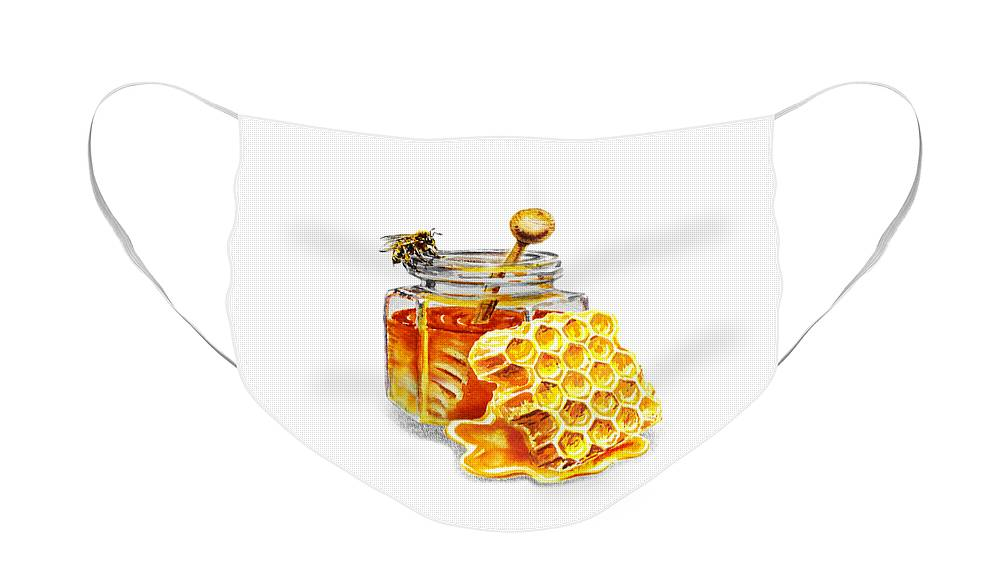 Honey Face Mask featuring the painting Honey Jar And Honeycomb by Irina Sztukowski