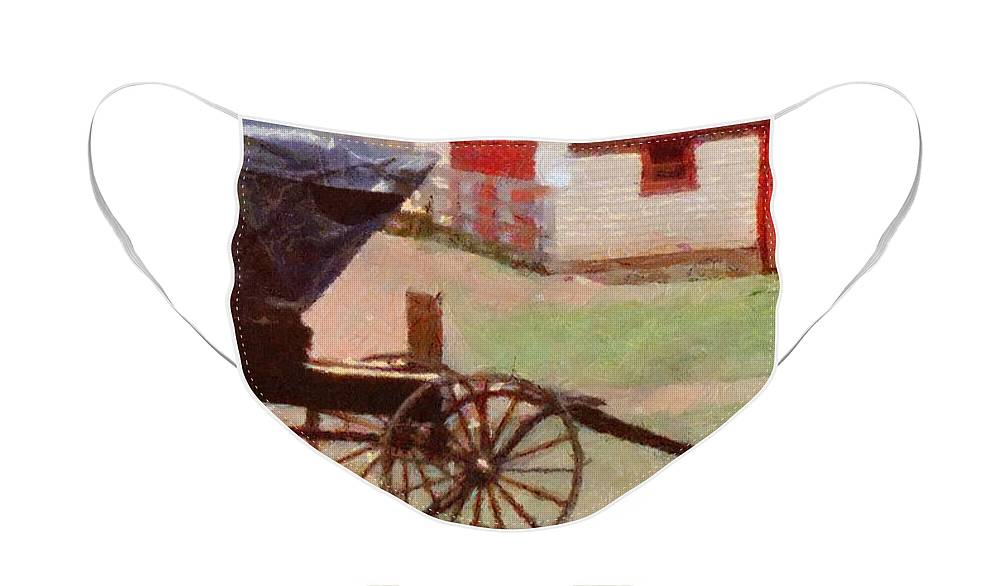Canadian Face Mask featuring the painting Horseless Carriage by Jeffrey Kolker