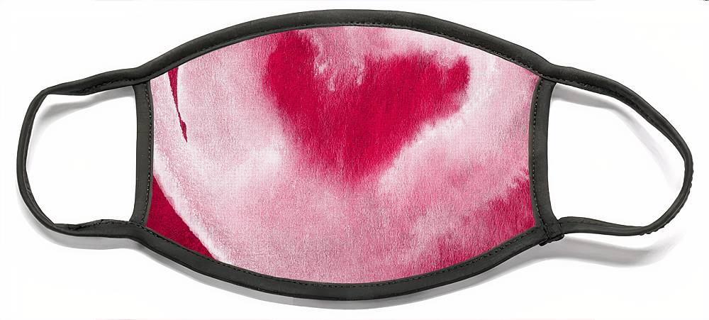 Valentine Face Mask featuring the mixed media Hot Pink Heart by Linda Woods