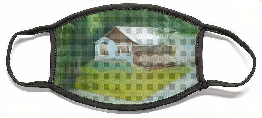 House Face Mask featuring the painting House on Hill by Sheila Mashaw
