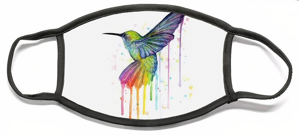 Hummingbird Face Mask featuring the painting Hummingbird of Watercolor Rainbow by Olga Shvartsur