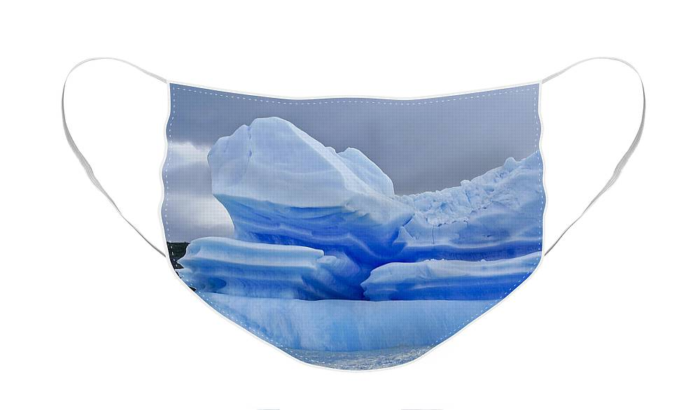 Patagonia Face Mask featuring the photograph Iceberg Sculpture by Michele Burgess