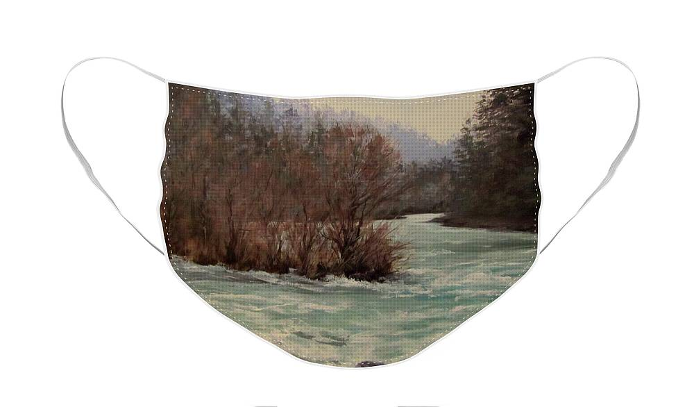 Landscape Face Mask featuring the painting In All Seasons by Karen Ilari