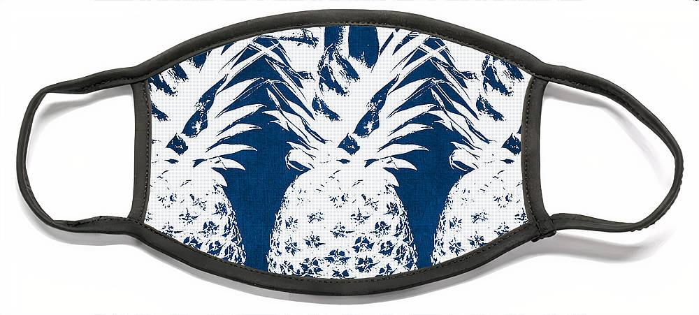 Indigo Face Mask featuring the painting Indigo and White Pineapples by Linda Woods