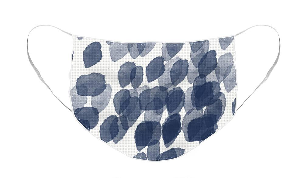 Abstract Painting Face Mask featuring the mixed media Indigo Rain- abstract blue and white painting by Linda Woods
