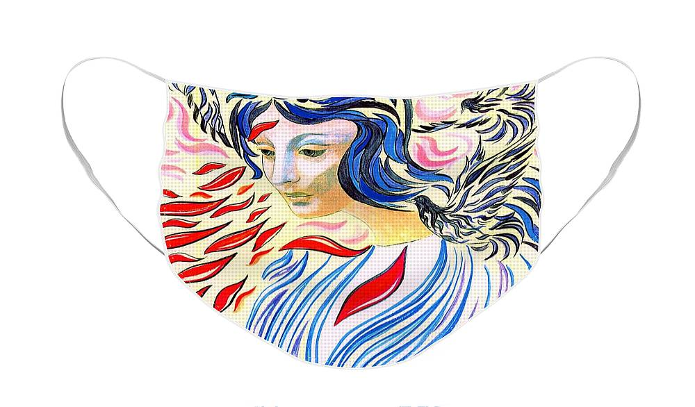 Spiritual Face Mask featuring the painting Inner Peace by Jane Small