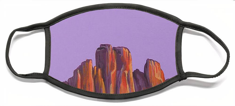 Landscape Face Mask featuring the painting Inscription Rock by Hunter Jay