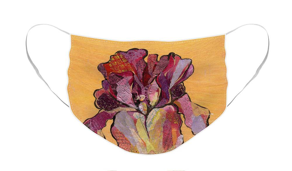 Flower Face Mask featuring the painting Iris V - Series V by Shadia Derbyshire