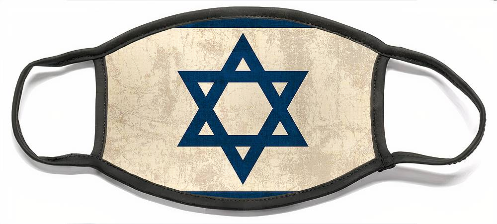 Israel Flag Vintage Distressed Finish Face Mask featuring the mixed media Israel Flag Vintage Distressed Finish by Design Turnpike
