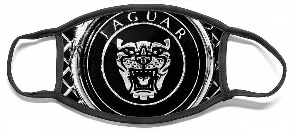 Jaguar Grille Emblem Face Mask featuring the photograph Jaguar Grille Emblem -0317bw by Jill Reger