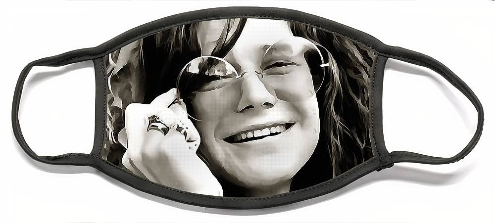 Janis Joplin Face Mask featuring the digital art Janis by Dan Sproul