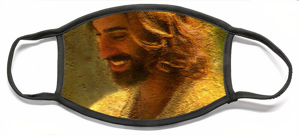 Jesus Face Mask featuring the painting Joy of the Lord by Greg Olsen