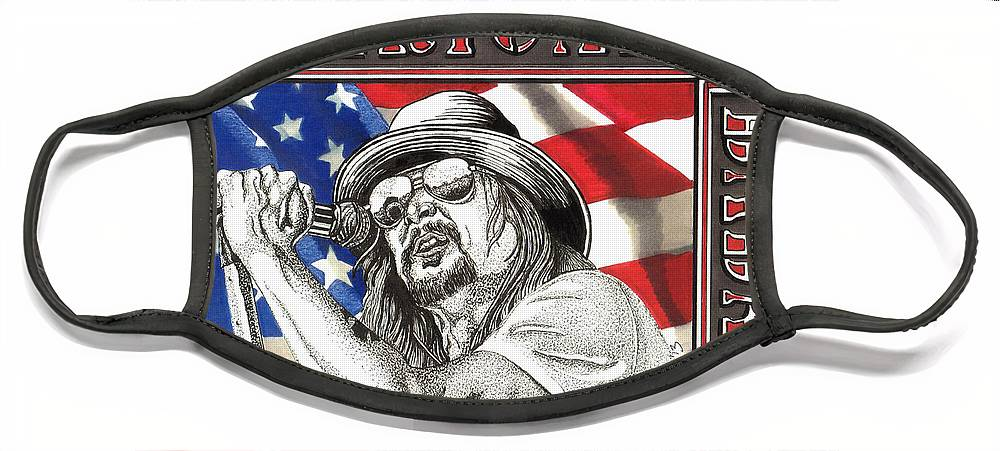 Kid Rock Face Mask featuring the drawing Kid Rock American Badass by Cory Still