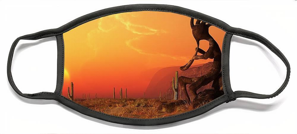 Kokopelli Sunset Face Mask featuring the digital art Kokopelli Sunset by Daniel Eskridge