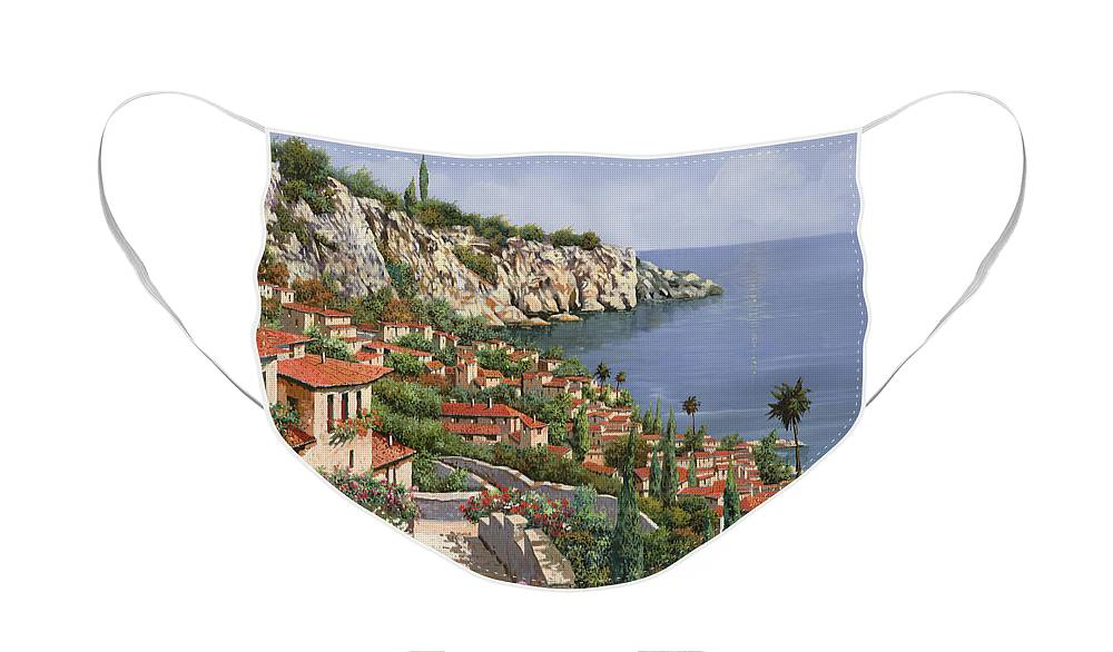 Seascape Face Mask featuring the painting La Costa by Guido Borelli