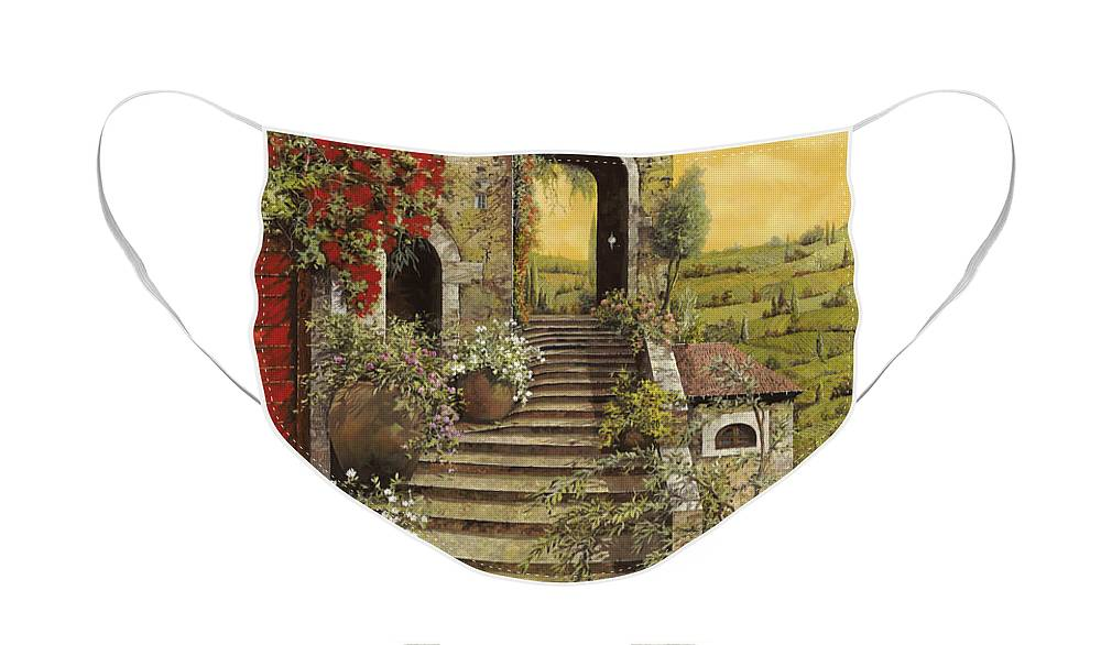 Arch Face Mask featuring the painting La Scala Grande by Guido Borelli