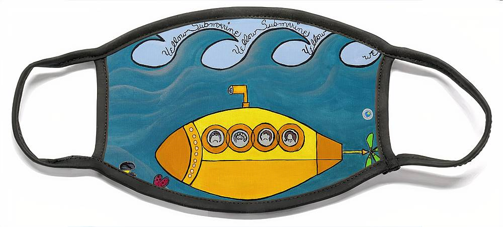 The Beatles Face Mask featuring the painting Lets Sing The Chorus Now - the Beatles Yellow Submarine by Ella Kaye Dickey