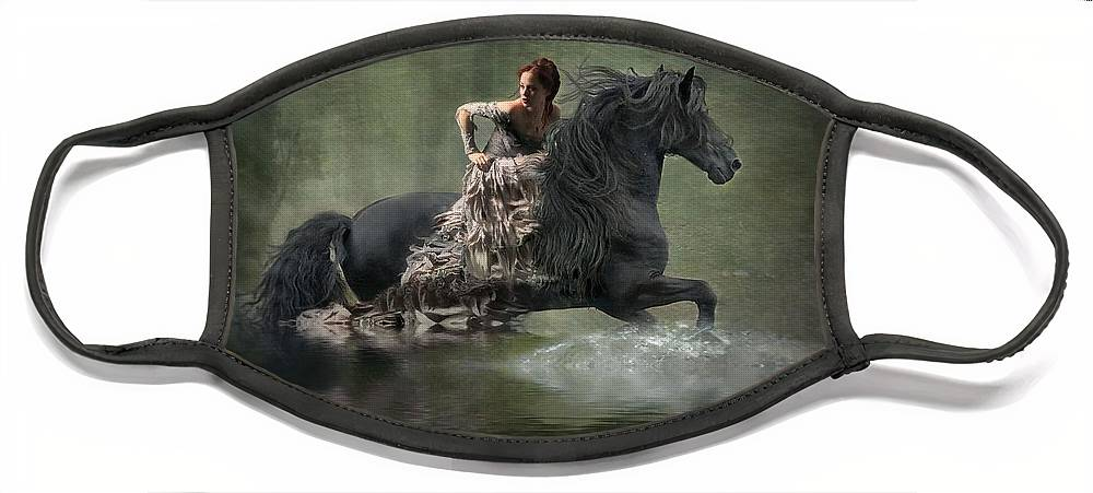 Girl Fleeing On Horse Face Mask featuring the photograph Liberated by Fran J Scott