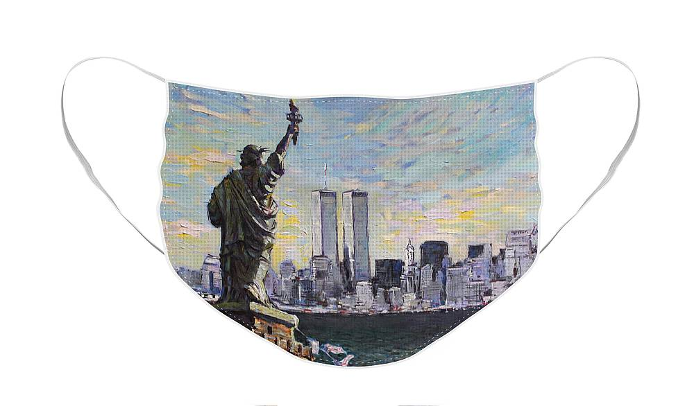 New York City Face Mask featuring the painting Liberty by Ylli Haruni