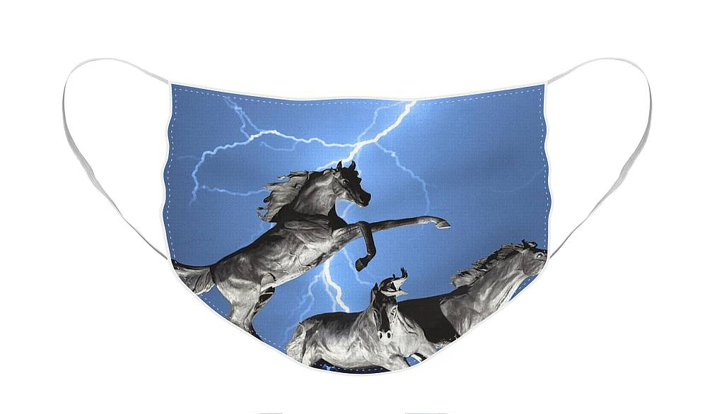 Face Mask featuring the photograph Lightning At Horse World BW Color Print by James BO Insogna