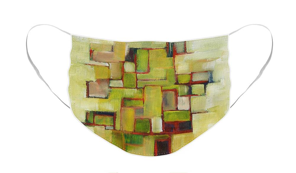 Abstract Face Mask featuring the painting Line Series Yellow Green Red by Patricia Cleasby