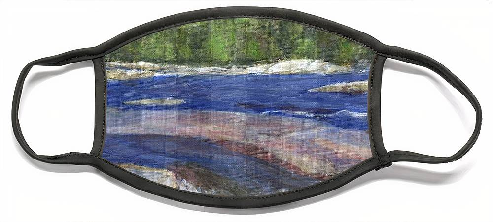 Moose River Face Mask featuring the painting Little Rapids by Sheila Mashaw