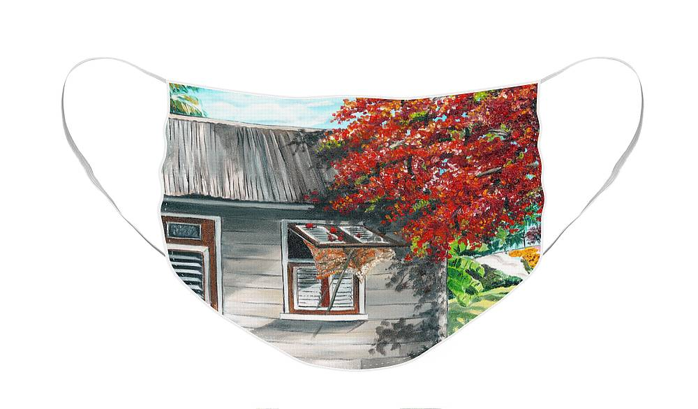 Caribbean Painting Typical Country House In The Caribbean Or West Indian Islands With Flamboyant Tree Tropical Painting Face Mask featuring the painting Little West Indian House 1 by Karin Dawn Kelshall- Best